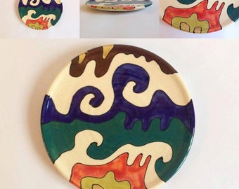 Ceramic Plate / Handmade Pottery / Hand Painted / Colourful / White