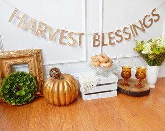 Thanksgiving Decor - Harvest Blessings Banner - Thanksgiving Banner - Fall Banner - Fall Decor - Thanksgiving Garland