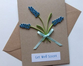 """Get Well Soon Quilled Lavender Card 15cm x 10cm (6"""" x 4"""")"""
