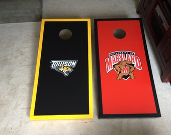 Custom made, regulation size cornhole boards with folding legs - Picture frame