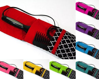 Insulated Curling Iron, Flat Iron, Hair Iron Travel Case in Cotton Lattice Print with 8 Color Choices