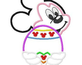 Mister Mouse with Easter Egg Embroidery Applique Design