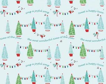 Pixie Noel by Riley Blake - Trees Aqua - Cotton Woven Fabric