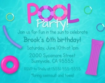 DIGITAL girl pool party invite, girl pool party invitation, girl pool party, pool party birthday, birthday swim invite, swim party invite