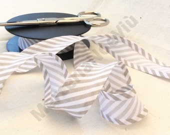"3 meters (3,27yds) large striped printed cotton 1""  bias tape  beige white fantasy"