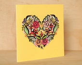 Heart card - Heart Illustration Card | Hand Lettered Card | Floral Greeting Card | Floral Stationery