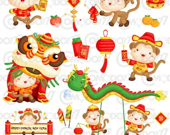 Monkey Year Chinese New Year Clipart /  Digital Clip Art & Illustration for Commercial and Personal Use / INSTANT DOWNLOAD