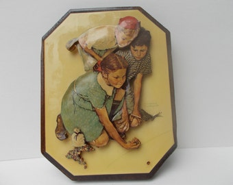 Vintage Norman Rockwell 3D wall plaque.