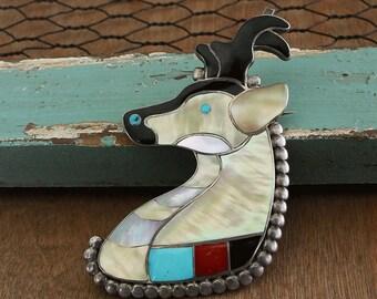 Native American Jewelry,Zuni,Sterling,Zuni Jewelry,Native American Jewelry,Native,Vintage Zuni Pueblo Inlay Pronghorn Antelope Pin Pendant,