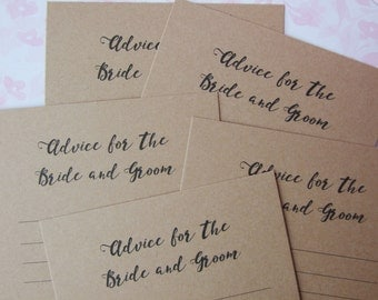 """Rustic Wedding- """"Advice for the Bride and Groom""""- Advice Cards"""