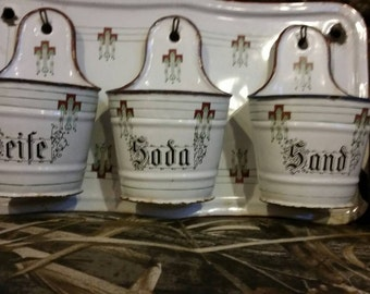 French graniteware Seife sand soda rack collectable farmhouse rustic vintage woodland country shabby chic cottage mother's day gift