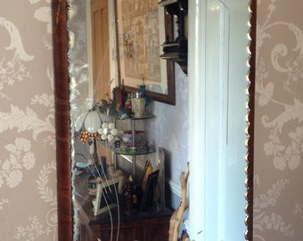 Vintage 1940s Bevelled Etched Art Deco Mirror