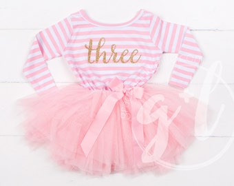 Third Birthday Outfit, Third Birthday Dress, Pink and Gold dress dress with gold letters, Pink tutu for girls 3rd birthday, long sleeve