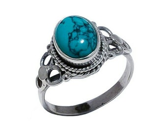 SALE!!  LUNA Turquoise 925 sterling silver ring size 8.5