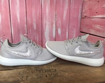 SALE Swarovski Nike Roshe Two Shoes Customized With Swarovski Crystals