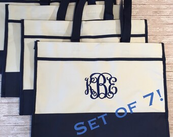 Set of 7- Monogrammed Tote Bags- Bridal Party Gifts- Bridesmaids Gifts- Personalized Gifts- Canvas Tote Bags