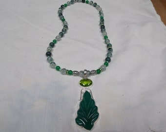 Beaded necklace, hand made,one of a kind Green Tree Agate