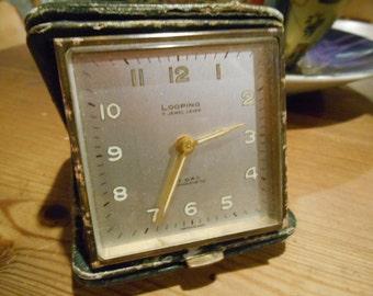 Travel Alarm Clock, Vintage Travel Alarm Clock, Looping 8 Day Antimagnetic 7 Jewel Lever