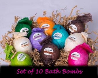 10 Bath Bombs, Bubble Bath, Bath Soap, Fizzy, Bath and Beauty, Spa and Relaxation, Natural, Vegan