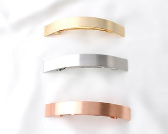 curved metal hair barrettes, large hair barrette, hair accessory, simple hair barrettes, textured metal finish, trendy gift for her
