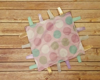 Sensory baby blanket, baby blanket with tags, security blanket, ribbon blanket, baby girl blanket Purple Polka Dots