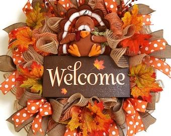 turkey fall wreath - Autumn plush - fall wreath - welcome sign