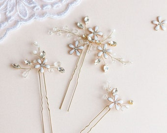 Wedding Hair Pins,  Flower Hair Pins, Bridal Hair Pins, Wedding Headpiece, Blossom Hair Pins, Wedding Hair Accessory, Gold Hair Pins- LUISA