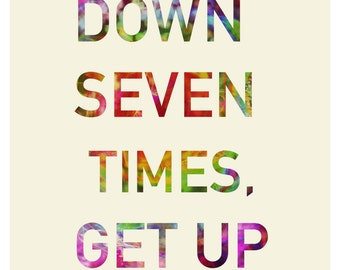 "Typography Inspirational and Motivational Quote "" Fall Down Seven TImes. Get Up Eight""  Art Poster Print in A0-A1-A2-A3-A4 sizes"