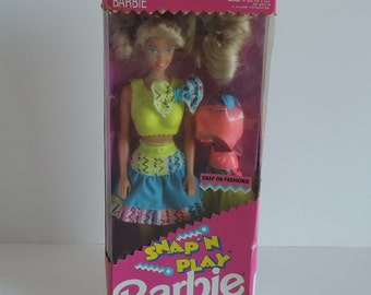 vintage 90s/ 1991 /Barbie/  Snap 'N Play/ Doll/ Rare/ Snap on Clothes/ New in Box