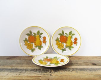 Set of three Mikasa Cera-Stone 'Fruit Salad'  Salad or Dessert Plates. Bright and Boho-Styled Glazed Stoneware Plates.