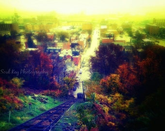 Dubuque, Iowa, Fall Foliage, Autumn, Dubuque Iowa, Dubuque Skyline, Dubuque Art, Cable Car, Fenelon, Scenic, Hill, Landscape, Photo Print