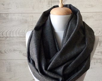 Men's scarf plaid scarf gray men scarf mens scarf infinity scarf herringbone scarf grey scarf men infinity scarf