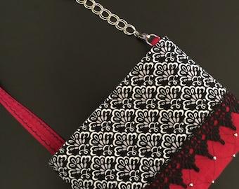 Red & Black Damask Purse