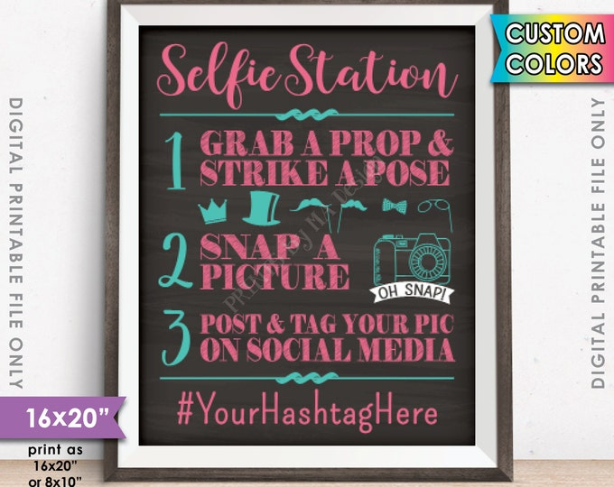 """Selfie Station Sign, Snap a Photo Selfie Sign, Hashtag Social Media Photobooth Sign, Selfie Booth, Chalkboard Style 16x20"""" Digital Printable"""