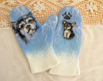"Mittens and brooch ""Сhihuahua"""