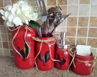 Kitchen organization mason jar kitchen utensils for Chicken kitchen decorating ideas