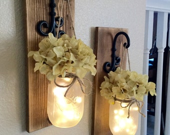 Rustic Mason Jar Sconce With Lights,Mason Jar Decor,Mason Jar Wall Decor,Distressed Wood Sconce,Lighted Mason Jar Sconce,Home Decor, Country
