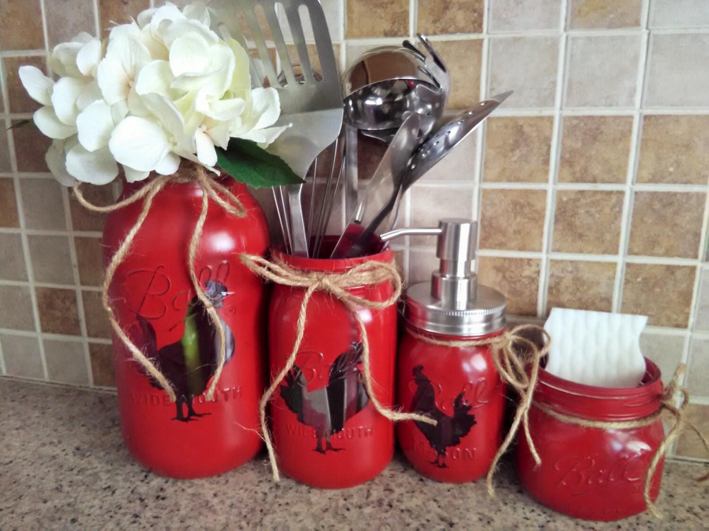 Chicken decor chicken kitchen set red chicken kitchen for Chicken kitchen decorating ideas
