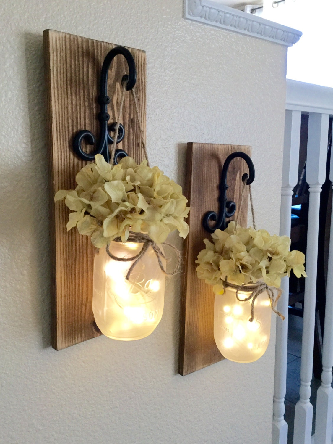 Rustic Mason Jar Sconce With LightsMason Jar DecorMason Jar