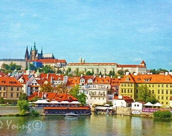 Prague Art Print, Prague Travel, Prague Architecture, Europe River Landscape Print, Czech Republic, Travel Photography, Travel Art, Fine Art