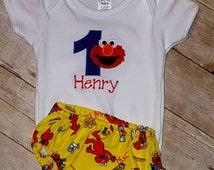 1st birthday onesie with Elmo