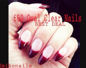 50% Off SALE 600 Blank Clear oval Nails,Oval Nail,False oval nail,Long Oval Natural Blank Fake nails,False nails,Press on nail+free gift