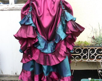 Two Tiered Steampunk Skirt in Pink and Teal