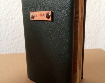 Personalised Olive Green Leather Passport Cover