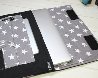 Laptop Sleeve, Macbook Air 13 inch Case, Macbook Pro Sleeve, Pro Retina Cover, Laptop Case for her, grey laptop sleeve, star Macbook case