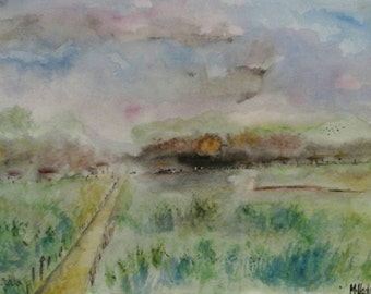 Original Impressionist Watercolour Painting of a Country Scene signed
