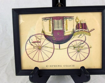 C Spring Coach Horse Carriage Print in a Frame - Vintage