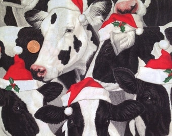 COW, Santa Cows, Christmas Hat - By Fabric Traditions ~ Fat Quarter / FQ ~ 100% Cotton, for Quilting and Crafts