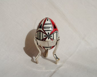 Reminiscent of Ukrainian made eggs, Pysanky design, Pisanki, painted egg. Option to purchase stand or egg only.