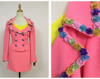 MOSCHINO vintage 1990s 2 pc neon coral pink boucle suit skirt and jacket- size S